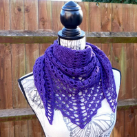 African Violet 'Transposition' Wool Shawl