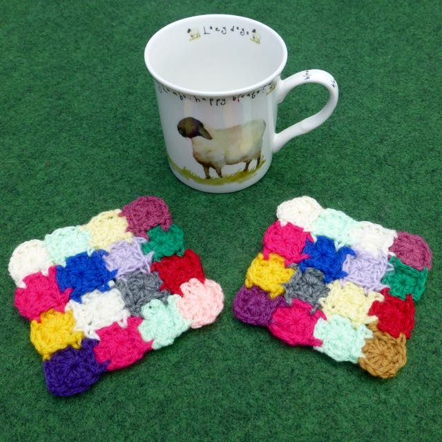 Set of two Colourful Square Coasters, 10 x 10 cm