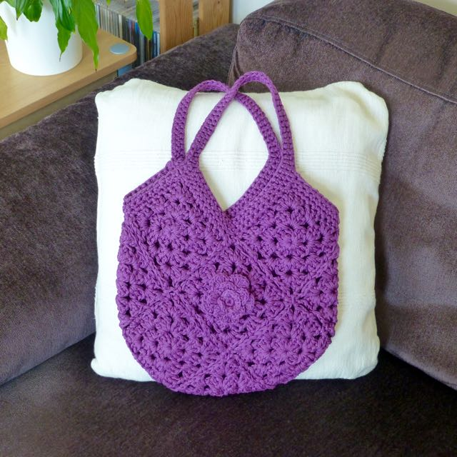 Crochet Purple Cotton Bag with Flower Brooch