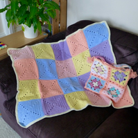 Treble Squares Baby Blanket with Gift Bag, 77 x 61 cm