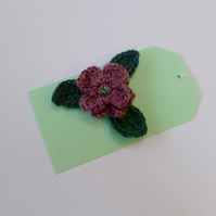 Wool Beaded Flower with Three Leaves Brooch, 5.5 cm