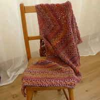 Autumn 'Wrapped in Warmth' 100% wool Shawl, 164 x 80 cm