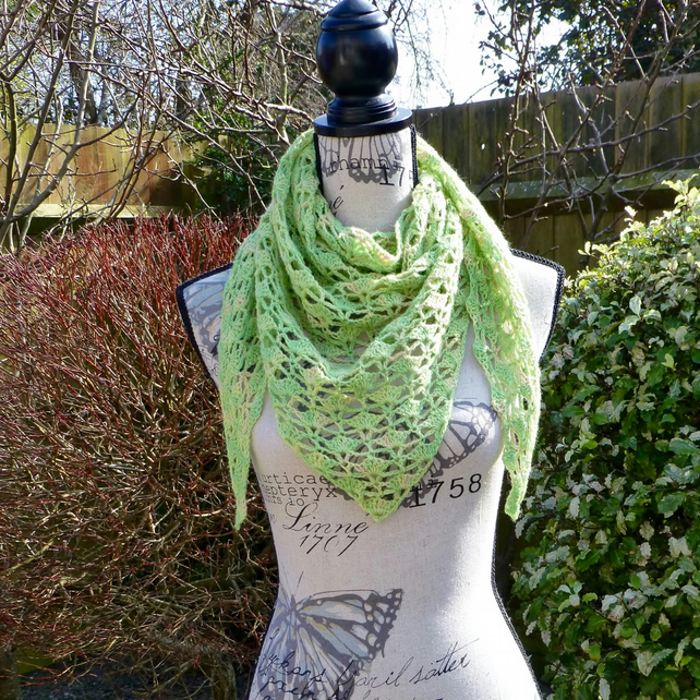 Lime Zest 'Rainy Day' 100% Wool Shawl, 153 x 62 cm