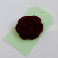 Burgundy Rose Brooch, 8 cm