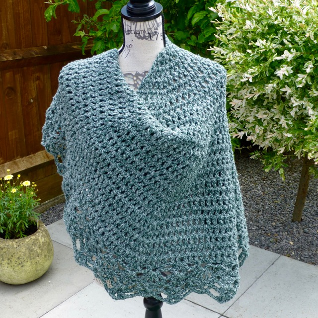 Crochet Green Marl Chunky All Shawl