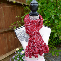 Red Scarf with Corkscrew Tassels, 160 x 13 cm