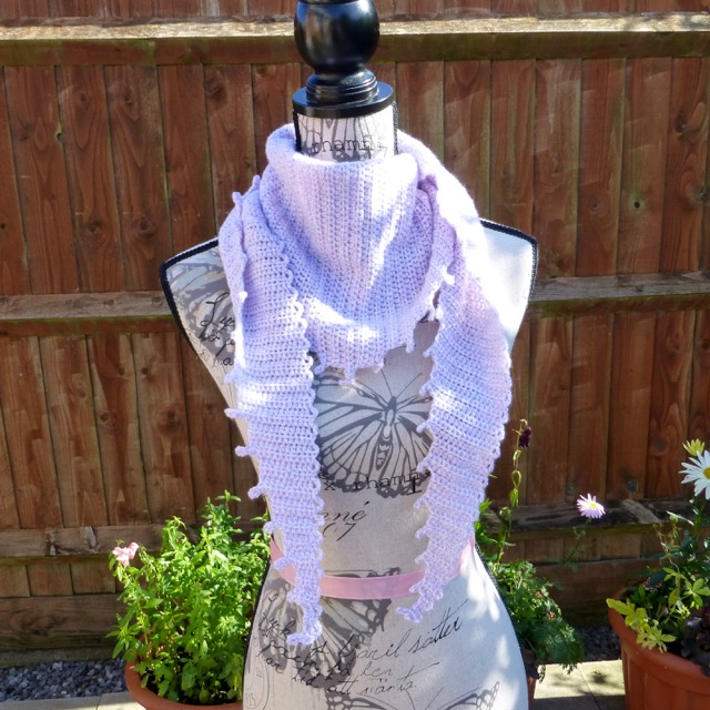 Lilac 'Northmoor Lock' Wool Shawl, 175 x 33 cm