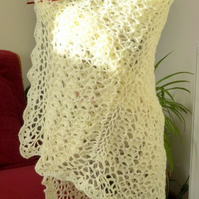 Cream Victorian Style Lace Square Shawl