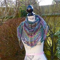 SALE - Green 'Transposition' 100% Wool Shawl