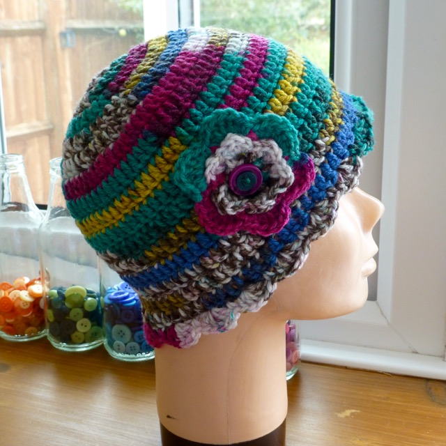 Girl's Multicoloured Beanie with Flower Embellishment, 3 - 6 yrs