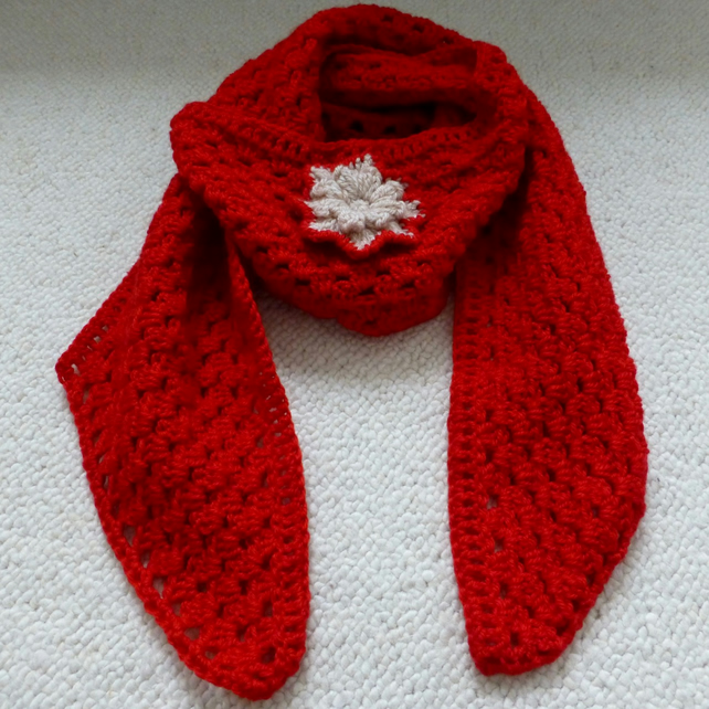 Red Wool Scarf with Popcorn Flower, 168 x 19.5 cm