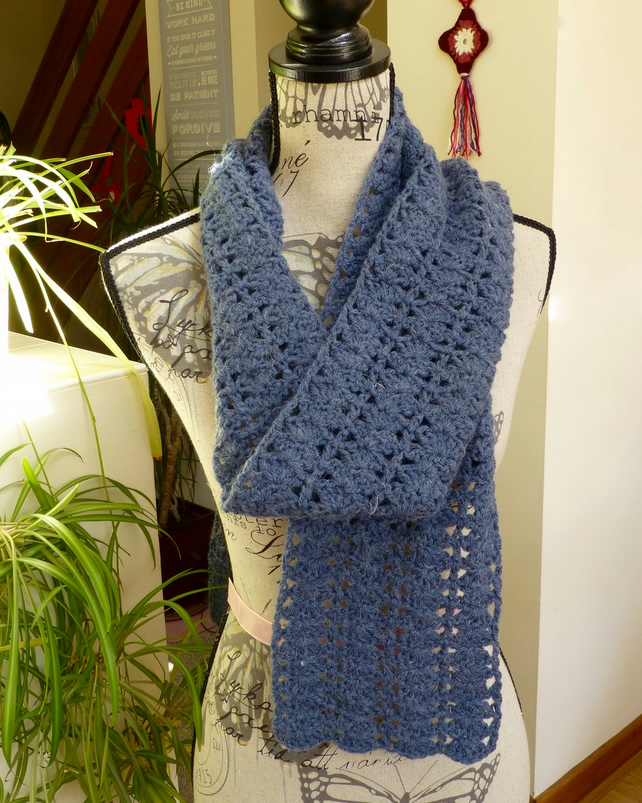 Denim Blue Wool Shell Scarf, 200 x 14 cm