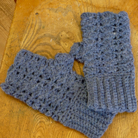 Denim Blue Wool Shell Fingerless Mittens, 10 x 21 cm