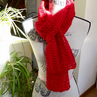 Lipstick Red Shell Scarf, 200 x 14 cm