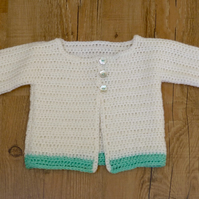 Cream & Mint Baby's Cardigan, 0 - 6 months