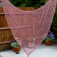 Pink Chenille Mesh Style Shawl, 135 x 110 cm