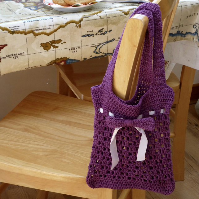 Purple Cotton Mesh Bag with Bow Detail, 23 x 26 cm