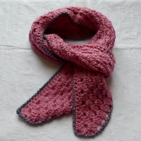 Candy Pink with Grey Wool Scarf, 184 x 14 cm