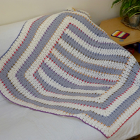 Cream & Silver 'Retro' Square Blanket, 102 x 102 cm