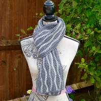 Celtic Grey Wool Wavy Scarf, 186 x 17 cm