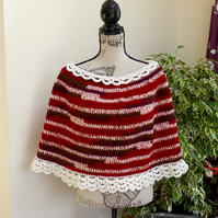 Cream Lace Trimmed Poncho