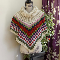 Cowl Neck Poncho, women's