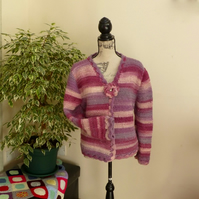 Rose Garden Striped 100% Wool Cardigan, women's Large