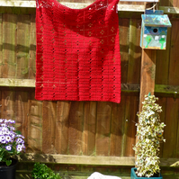 Crochet Red 'Call the Midwife' Inspired Baby Blanket, 77 x 69 cm