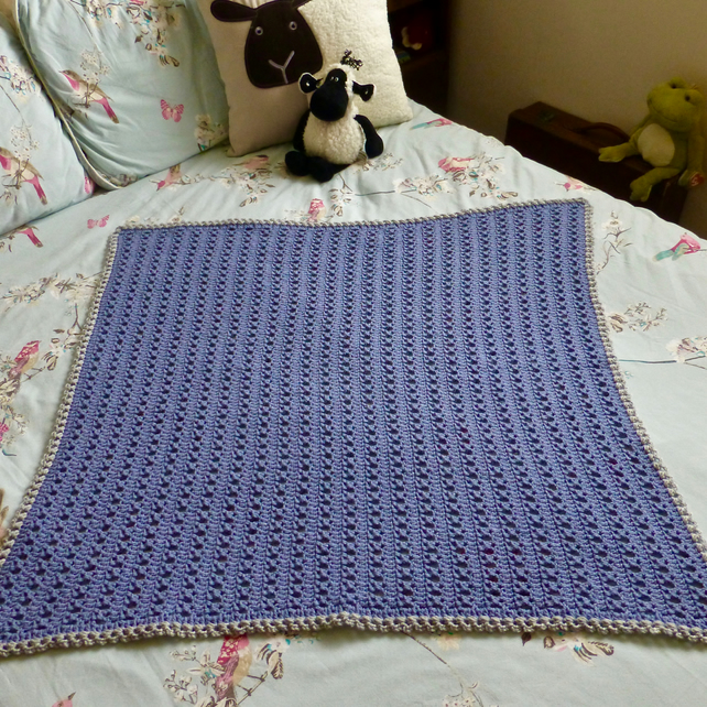 Crochet Blue X stitch with Grey Edging Baby's Blanket, 84 x 84 cm