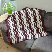 Burgundy & Cream Ripple Stitch Baby's Blanket, 82 x 82 cm