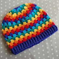 Six Colour Rainbow Crochet Hat (3-5 years)