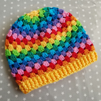 Bright Rainbow Crochet Hat (3-5 years)