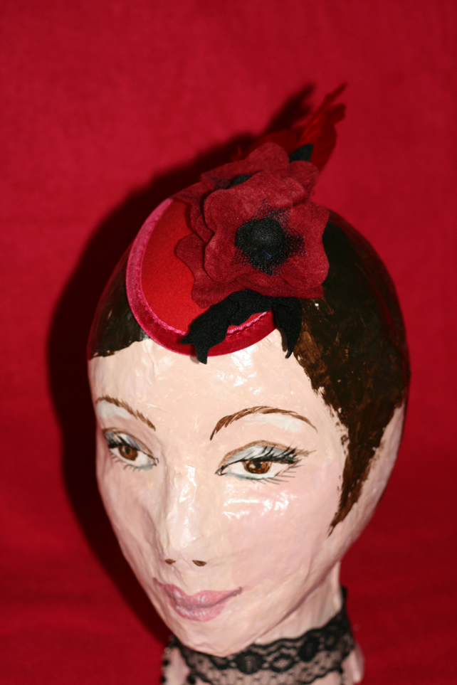 Poppy Teardrop Fascinator