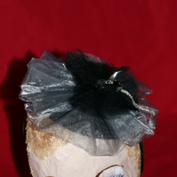Black and dove grey tulle and organza fascinator