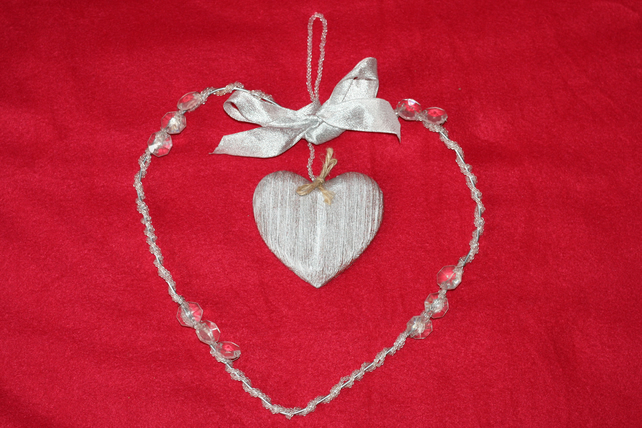 Silver bead heart shaped wreath