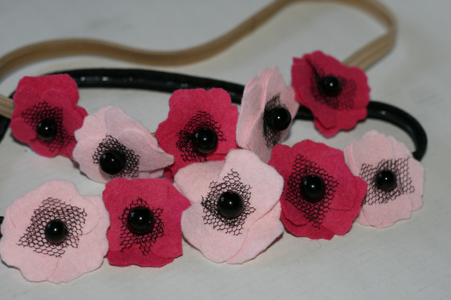 Pink felt poppy headband (blonde)