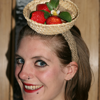 Basket of strawberries fascinator