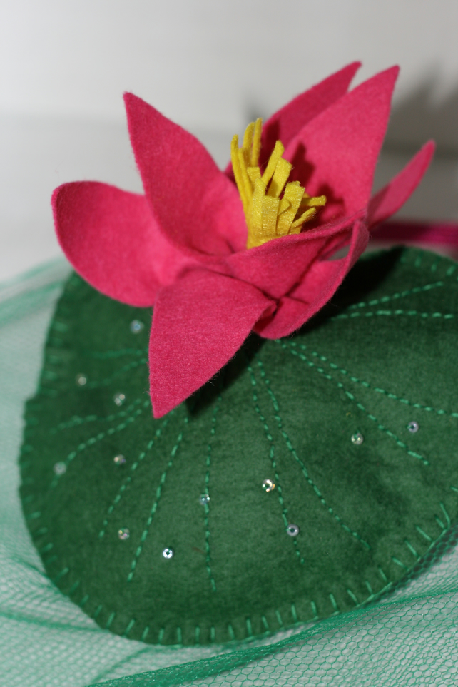 Green and hot pink waterlily fascinator