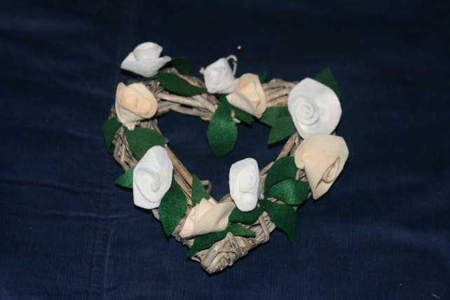 Wicker heart shaped wreath with cream and white felt roses