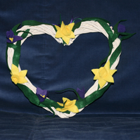 Large heart shaped wreath with felt daffodils and crocuses