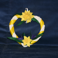 Small heart shaped wreath with felt daffodils and crocuses