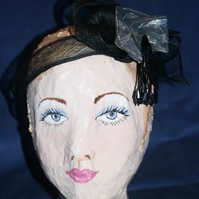 Black straw headband with grey silk rose