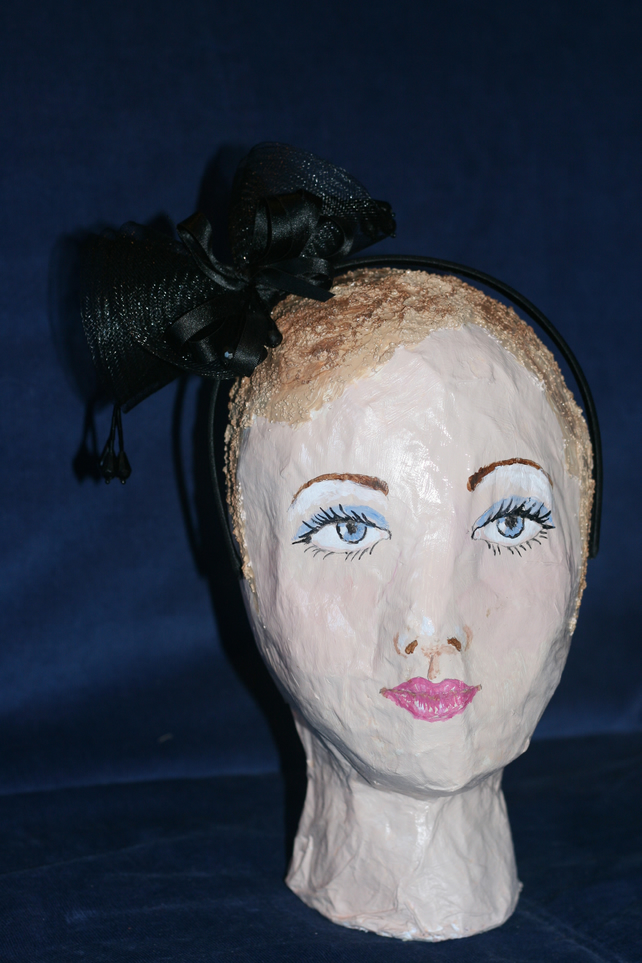 Black headband with bow and beads