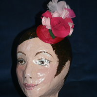 Pink rose teardrop fascinator