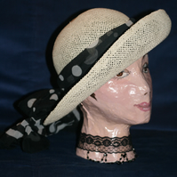 Straw Hat with Polka Dot Scarf and Felt Roses