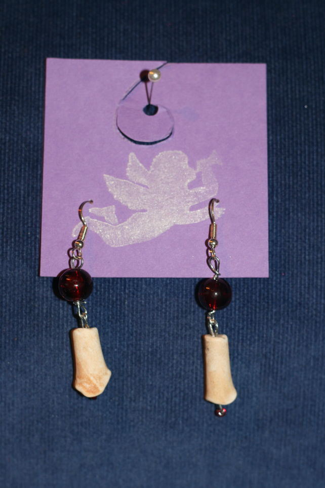 Clay pipe and bead earrings