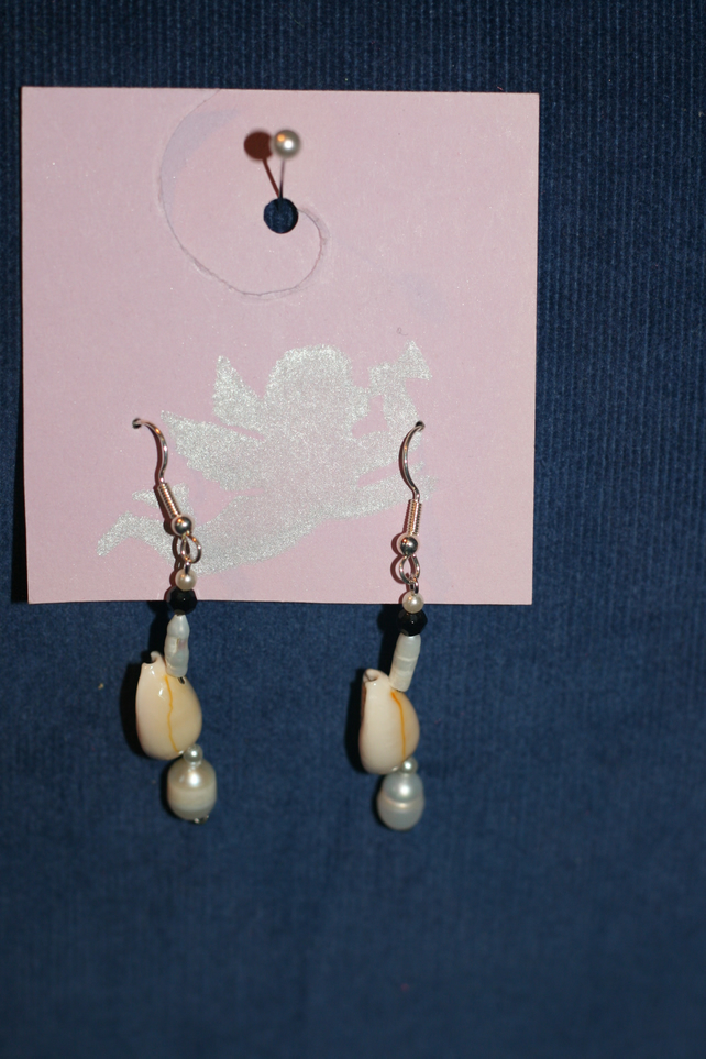 Shell and bead earrings
