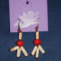 Clay pipe and rose earrings
