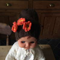 Children's beanie with autumnal flowers size 3-6