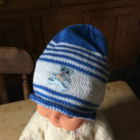Children's hand knitted cotton hat with appliqué teddy 2-3 years